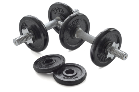 sessions: Dumbbells for weightlifting sessions. Stock Photo