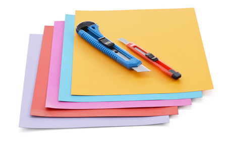 acute: Sheets of colored paper and small stationery knife.