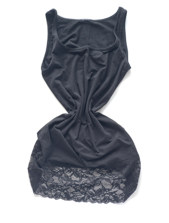 guipure: Black crumpled dress with guipure on a white background.