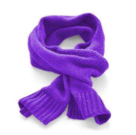 Purple warm scarf on a white background Stock Photo