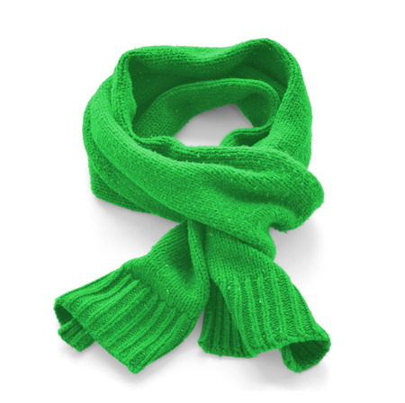 Green warm scarf on a white background