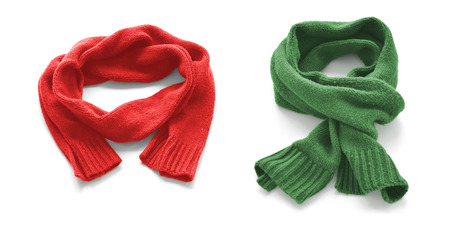 Red and green warm scarves on a white background.