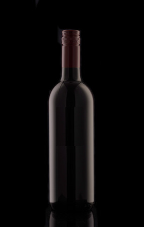 A bottle of red wine. Silhouette of a bottle of wine with a red stopper.