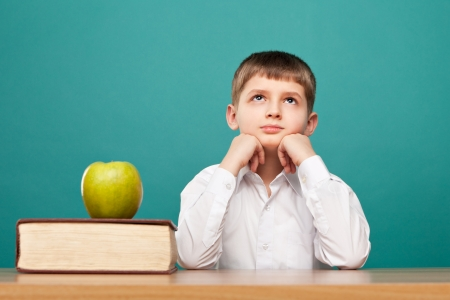 cheerful  little boy sitting at the table and looks up  School concept