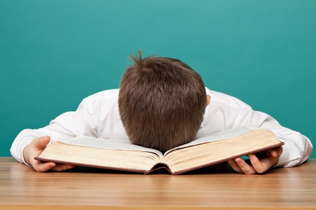 cheerful  little boy sitting at the table  and sleeps on the book  School concept
