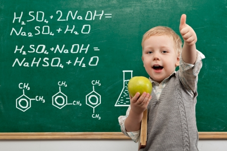 child education: Cheerful smiling  child with a book and apples stands at the blackboard . Looking at camera. School concept