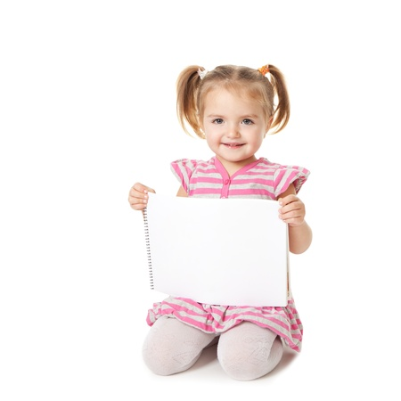 child with white sheet on a white background. Advertisement concept
