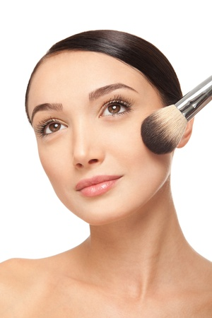 Beauty woman face with brush  Stock Photo - 17345052