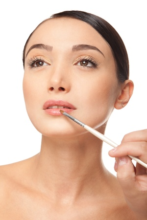 Beauty woman face with brush  Stock Photo - 17345001