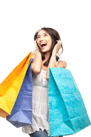 euphoria: picture of lovely woman with shopping bags