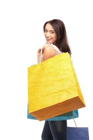 picture of lovely woman with shopping bags Stock Photo - 17344939