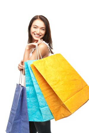 picture of lovely woman with shopping bags photo