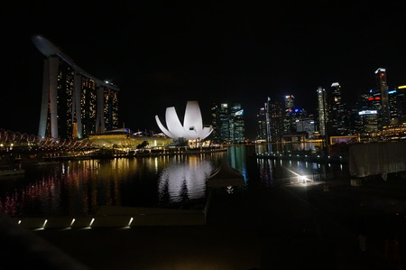 megapolis: Night shot of Marina Bay, Hotel, ArtScience Museum and downtown towers from Helix Bridge