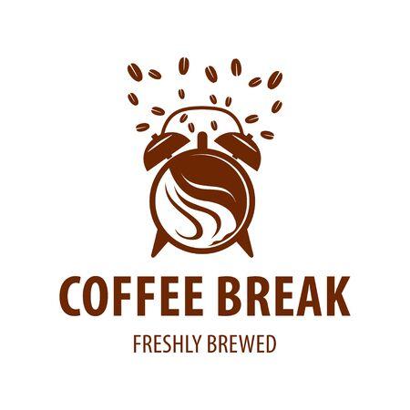 Alarm coffee logo design vector template, breakfast, clock