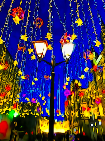 holiday blue evening city street fairytale lights lights illustration oil painting joyful photo-painting colorful delicate flickering Stock Photo