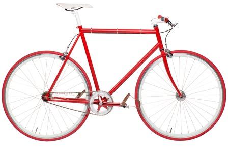 Vaste rode stadsfiets die op een witte achtergrond. Moderne hipster fiets Stockfoto