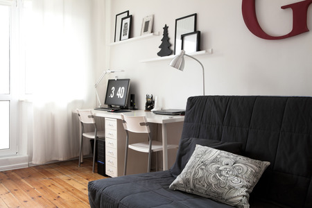 interior designer: Workplace designer minimalist residential interior. Modern apartment interior in Scandinavian style Stock Photo