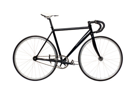 clavados: artes fijos bicicleta de ciudad negro aislado en un fondo blanco. bicicleta de última moda moderna