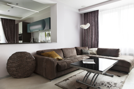 Design of the interior in the form of open space. Modern living room with leather sofa and table