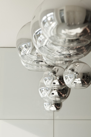 Luxury lamp chromed metal in a modern interior closeup