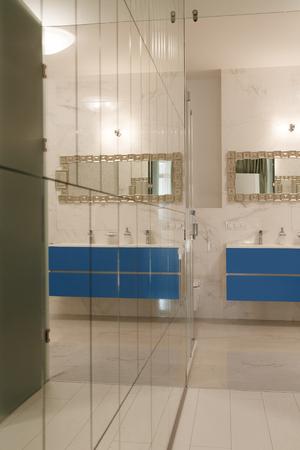 Luxe en ruime badkamer ingericht met spiegels en glas