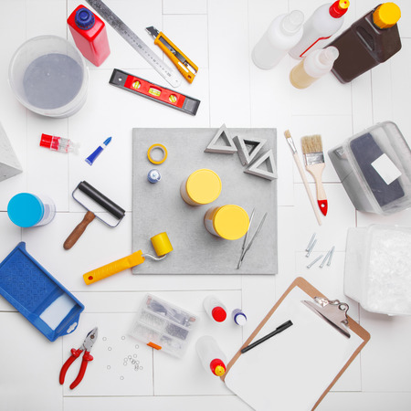Composition with tools consisting  of workshop. Workplace concrete workshop