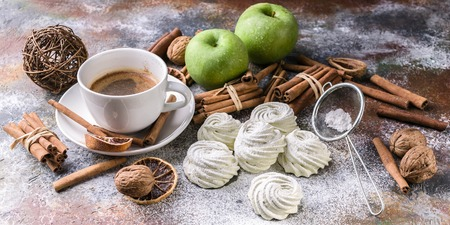 Food banner. Marshmallow with apple and cinnamon