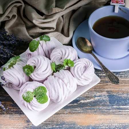 Handmade Delicious marshmallows with lavender flavor. Close-up Stock Photo