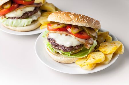 Two homemade hamburgers with a juicy meat cutlet, parmesan cheese, green salad, tomatoes and fried potatoes on a light background. Horizontal shot Banque d'images - 132101688