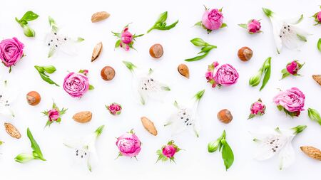 Website flowers banner background. Floral pattern. Flowers roses, buds and hazelnuts on a white background.