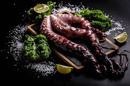 Tasty sea delicacy. Octopus tentacles with greens and limes on black background. Horisontal shot. Close-up.