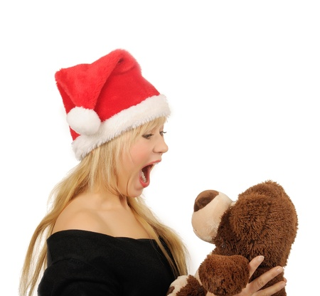 Santa woman with bear isolated on white  photo