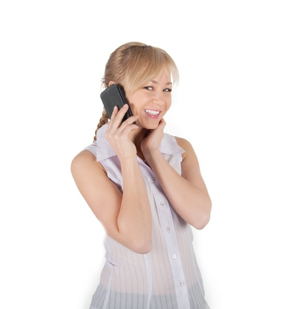 business woman with phone on white background. photo