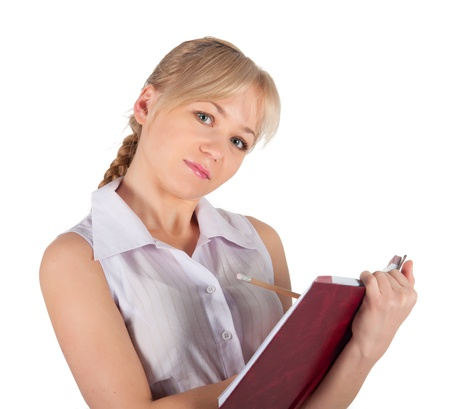 Beautiful business woman with red notebook. photo