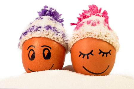warmer: funnylovely eggs in winter hats and sugar like a snow. together is more warmer .