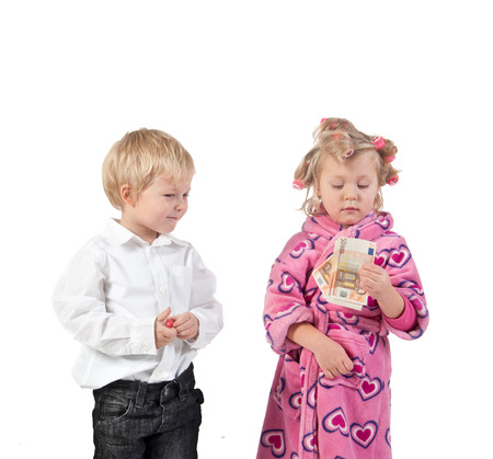 parody: discontented wife in curlers and  husband giving money for  forgiving. children parody. Stock Photo