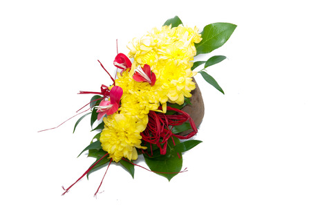beautiful bouquet of bright flowers in  flowerpot, isolated on white photo