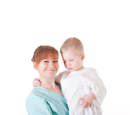 The female doctor w and the small patient on a white background. photo