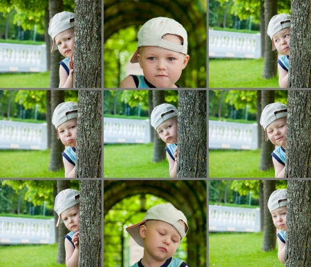 little boy emotional faces, expressions set outdoor. photo