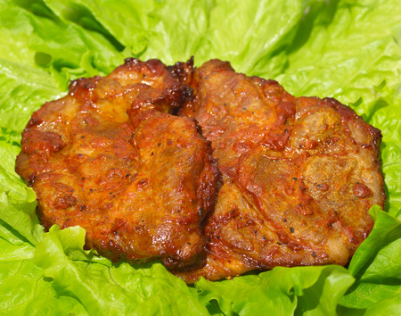 meat grilled: a tasty Steak meat grilled with lettuce