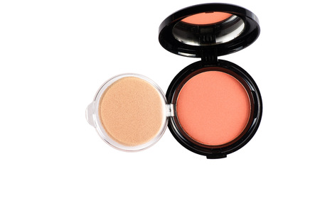 Makeup powder in Black case on white background photo