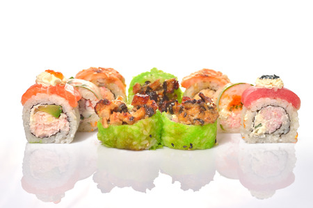 fish type: Classic sushi set with diferent type of fish, salmon, tuna, eel Stock Photo