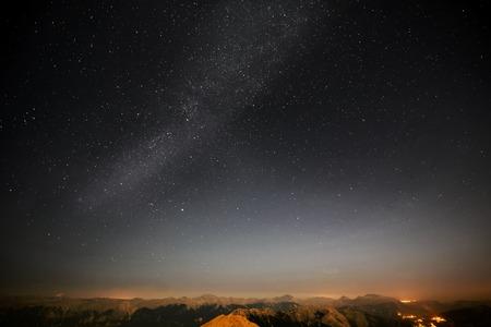 Stars in the night sky.  kemer, Turkey, 2365 m, Tahtali mountain Stok Fotoğraf - 47665061