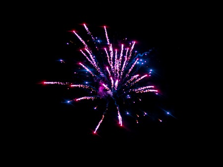 artifice: Colorful fireworks. beautiful night sky view at new year