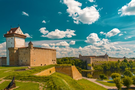 View of Narva Castle with tall Hermans tower.