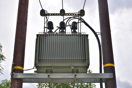 utility pole: Utility pole with electricity transformer - power generation industry Stock Photo