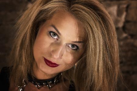 helloween: woman portrait in old castle. Helloween theme