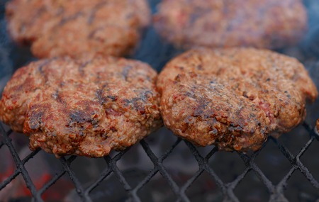 Beef or pork meat barbecue burgers Stock Photo