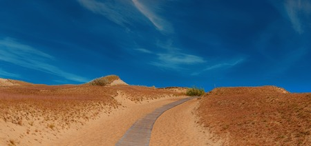 expanse: Wooden road in the sand dunes.