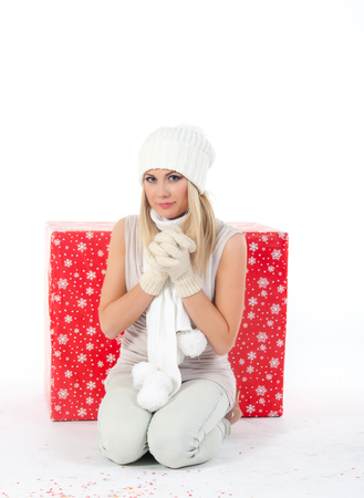 picture of beautiful woman in white mittens